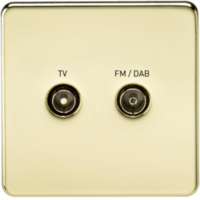 KnightsBridge Screened Diplex TV and FM DAB Outlet 1G Screwless Polished Brass Wall Plate