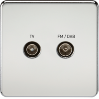KnightsBridge Screened Diplex TV and FM DAB Outlet 1G Screwless Polished Chrome Wall Plate