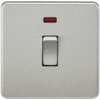 KnightsBridge 20A 1G DP 230V Screwless Brushed Chrome Electric Wall Plate Switch with Neon