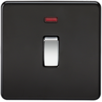 KnightsBridge 20A 1G DP 230V Screwless Matt Black Electric Wall Plate Switch with Neon