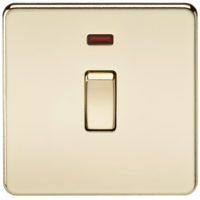 KnightsBridge 20A 1G DP 230V Screwless Polished Brass Electric Wall Plate Switch with Neon