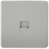 KnightsBridge Screwless Brushed Chrome Telephone Master Socket Flush Wall Socket