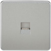 KnightsBridge Screwless Brushed Chrome Telephone Extension Socket