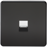 KnightsBridge Screwless Matt Black Telephone Extension Socket Flush Wall Socket