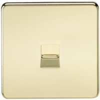 KnightsBridge Screwless Polished Brass Telephone Extension Socket