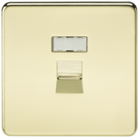 KnightsBridge Screwless Polished Brass RJ45 Network Outlet Wall Socket