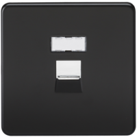 KnightsBridge Screwless Matt Black RJ45 Network Outlet Wall Socket