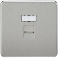 KnightsBridge Screwless Brushed Chrome RJ45 Network Outlet Wall Socket