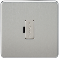 KnightsBridge 13A Screwless Brushed Chrome Fused Spur Connector Unit Wall Plate