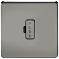KnightsBridge 13A Screwless Black Nickel Fused Spur Connector Unit Wall Plate