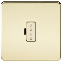 KnightsBridge 13A Screwless Polished Brass Fused Spur Connector Unit Wall Plate