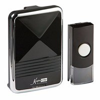 KnightsBridge 200m Range Wireless Door Bell Chime & Push - Black & Chrome