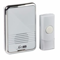 KnightsBridge 80m Range Wireless Plug In Chrome Door Bell Chime & Push (Option: White)