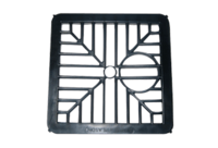 6 150mm Square Black Plastic Gully Grid Drainage Downpipe Cover by Stadium
