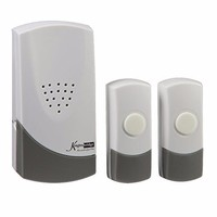 KnightsBridge 100m Range Wireless Door Bell Chime Twin Push - White & Grey