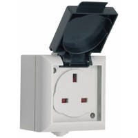 SMJ 13A IP54 Outdoor Power Single UK 3 Pin Mains UnSwitched Socket