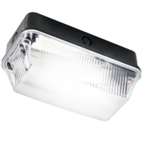 60W IP65 BC B22d Black Plastic Base Clear Prismatic Diffuser Bulkhead by KnightsBridge