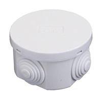 ESR 65mm IP44 Round PVC Junction Box with Knockouts - Grey