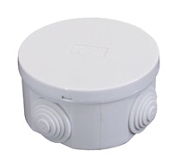 ESR 80mm IP44 Round PVC Junction Box with Knockouts - Grey