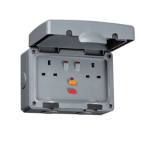 KnightsBridge 13A RCD Protected 2 Gang Double Pole IP66 Weatherproof Outdoor Socket