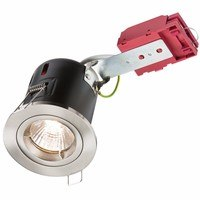 KnightsBridge GU10 50W 230V LED Compatible IC Fire Rated Fixed Downlight (Option: Brushed Chrome)