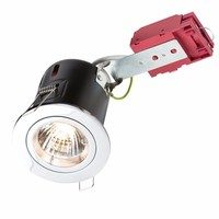 KnightsBridge GU10 50W 230V LED Compatible IC Fire Rated Fixed Downlight (Option: Polished Chrome)
