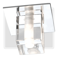 KnightsBridge Low Voltage IP65 Decorative Square Glass Bathroom Fitting & Lamp