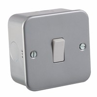 10A 1G 2 Way 230V Metal Clad Wall Switch Plate by KnightsBridge