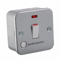 KnightsBridge 20A 1G Double Pole 230V Metal Clad Water Heater Switch With Neon
