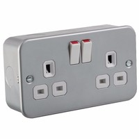 13A 2G Twin 230V Metal Clad UK 3 Switched Electric Wall Socket by KnightsBridge