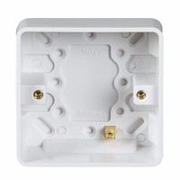KnightsBridge Pure 25mm 1G Pattress Box With Earth Terminal For PURE Range