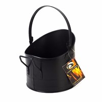 CoalBrooke Fireside Black Iron Coal Log Hod Storage Shuttle With Handle