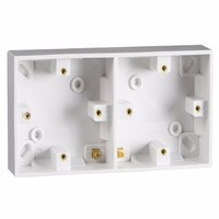 Starline 28mm White 2 Gang Double Mounting Pattress Box for Switches /& Sockets