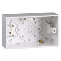 2 Gang 47mm Double Surface Pattress Box With Earth Terminal by KnightsBridge