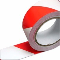 Marcwell Red & White 50mm X 33m Floor Marking Hazard Warning Tape