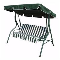Zexum 3 Seater Green & White Swinging Outdoor Garden Hammock Bench