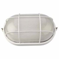 KnightsBridge IP54 Edison Screw Oval Bulkhead With Wire Guard (Option: White)