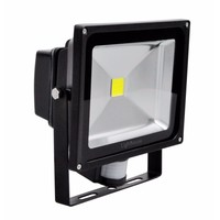Lighthouse IP65 Ultra Efficient LED Black Aluminium PIR Floodlight