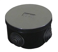 ESR 80mm IP44 Round PVC Junction Box with Knockouts - Black