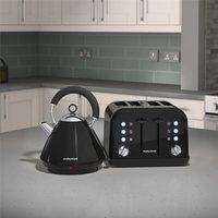 Morphy Richards Black Accents Pyramid Kettle & 4 Slice Toaster Set