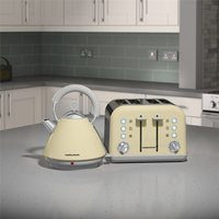 Morphy Richards Cream Accents Pyramid Kettle & 4 Slice Toaster Set