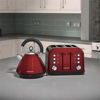 Morphy Richards Red Accents Pyramid Kettle & 4 Slice Toaster Set