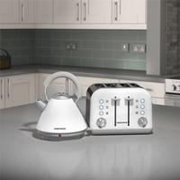 Morphy Richards White Accents Pyramid Kettle & 4 Slice Toaster Set