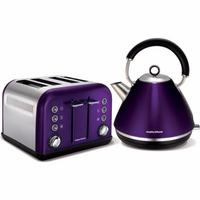 Morphy Richards Plum Accents Pyramid Kettle & 4 Slice Toaster Set