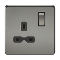 KnightsBridge 1G DP 13A 230V Screwless Black Nickel UK 3 Pin Switched Electrical Wall Socket