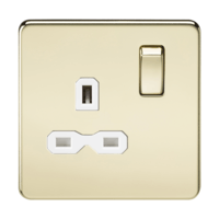 KnightsBridge 1G DP 13A 230V Screwless Polished Brass  UK 3 Pin Switched Electrical Wall Socket (Option: White Insert)
