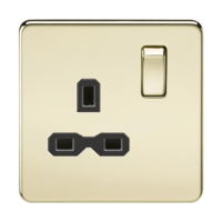 KnightsBridge 1G DP 13A 230V Screwless Polished Brass  UK 3 Pin Switched Electrical Wall Socket