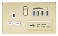 KnightsBridge 13A 2G Screwless Polished Brass 1G Switched Socket with Quad 5V USB Charger Ports (Option: White Insert)