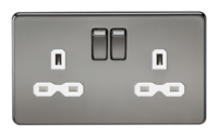 KnightsBridge 13A 2G DP Screwless Black Nickel 230V UK 3 Pin Switched Electric Wall Socket (Option: White Insert)