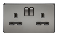 KnightsBridge 13A 2G DP Screwless Black Nickel 230V UK 3 Pin Switched Electric Wall Socket